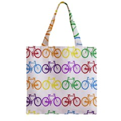 Rainbow Colors Bright Colorful Bicycles Wallpaper Background Zipper Grocery Tote Bag
