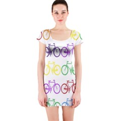 Rainbow Colors Bright Colorful Bicycles Wallpaper Background Short Sleeve Bodycon Dress