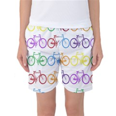 Rainbow Colors Bright Colorful Bicycles Wallpaper Background Women s Basketball Shorts