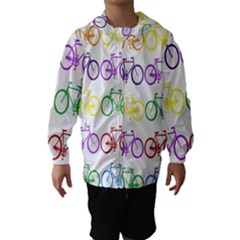 Rainbow Colors Bright Colorful Bicycles Wallpaper Background Hooded Wind Breaker (Kids)