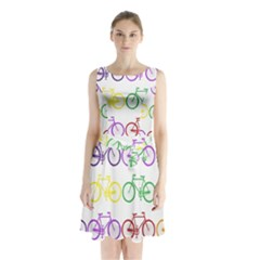 Rainbow Colors Bright Colorful Bicycles Wallpaper Background Sleeveless Chiffon Waist Tie Dress