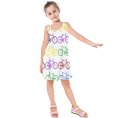 Rainbow Colors Bright Colorful Bicycles Wallpaper Background Kids  Sleeveless Dress