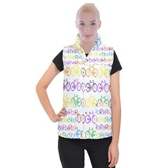 Rainbow Colors Bright Colorful Bicycles Wallpaper Background Women s Button Up Puffer Vest