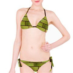 Modern Green Bricks Background Image Bikini Set