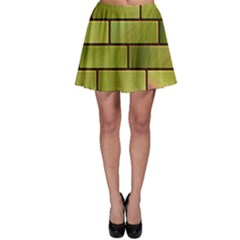 Modern Green Bricks Background Image Skater Skirt