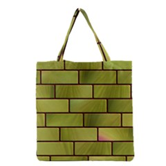 Modern Green Bricks Background Image Grocery Tote Bag