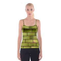 Modern Green Bricks Background Image Spaghetti Strap Top