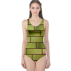 Modern Green Bricks Background Image One Piece Swimsuit