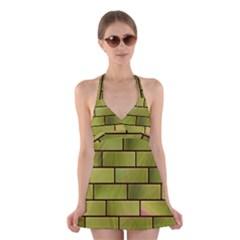 Modern Green Bricks Background Image Halter Swimsuit Dress