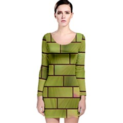 Modern Green Bricks Background Image Long Sleeve Velvet Bodycon Dress