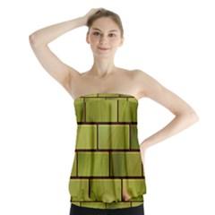 Modern Green Bricks Background Image Strapless Top