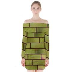 Modern Green Bricks Background Image Long Sleeve Off Shoulder Dress