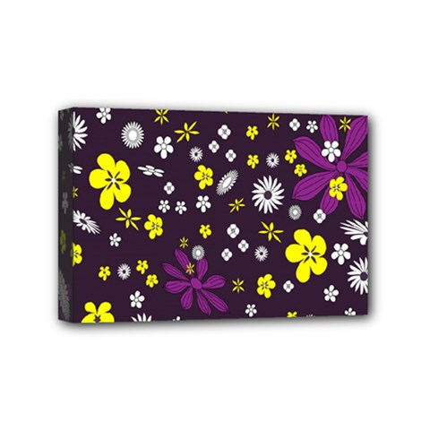 Flowers Floral Background Colorful Vintage Retro Busy Wallpaper Mini Canvas 6  X 4