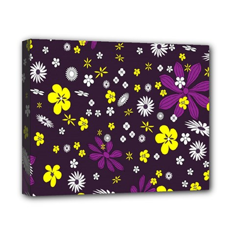 Flowers Floral Background Colorful Vintage Retro Busy Wallpaper Canvas 10  X 8