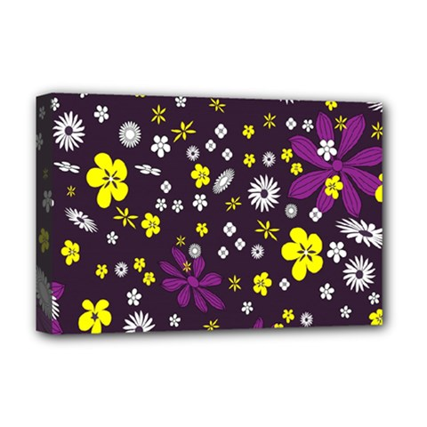 Flowers Floral Background Colorful Vintage Retro Busy Wallpaper Deluxe Canvas 18  X 12