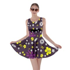Flowers Floral Background Colorful Vintage Retro Busy Wallpaper Skater Dress