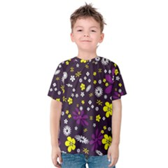Flowers Floral Background Colorful Vintage Retro Busy Wallpaper Kids  Cotton Tee