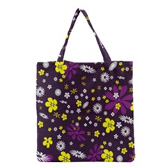 Flowers Floral Background Colorful Vintage Retro Busy Wallpaper Grocery Tote Bag