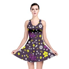 Flowers Floral Background Colorful Vintage Retro Busy Wallpaper Reversible Skater Dress
