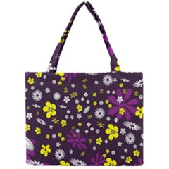 Flowers Floral Background Colorful Vintage Retro Busy Wallpaper Mini Tote Bag