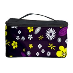 Flowers Floral Background Colorful Vintage Retro Busy Wallpaper Cosmetic Storage Case