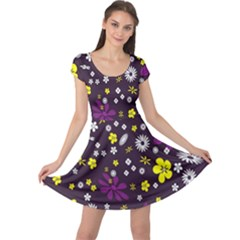 Flowers Floral Background Colorful Vintage Retro Busy Wallpaper Cap Sleeve Dresses