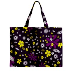 Flowers Floral Background Colorful Vintage Retro Busy Wallpaper Zipper Mini Tote Bag