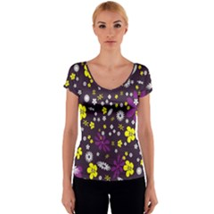 Flowers Floral Background Colorful Vintage Retro Busy Wallpaper Women s V-Neck Cap Sleeve Top