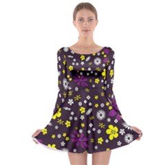 Flowers Floral Background Colorful Vintage Retro Busy Wallpaper Long Sleeve Skater Dress