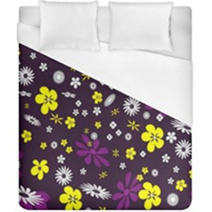Flowers Floral Background Colorful Vintage Retro Busy Wallpaper Duvet Cover (california King Size)