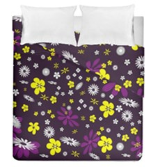 Flowers Floral Background Colorful Vintage Retro Busy Wallpaper Duvet Cover Double Side (queen Size)