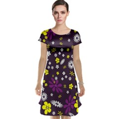 Flowers Floral Background Colorful Vintage Retro Busy Wallpaper Cap Sleeve Nightdress