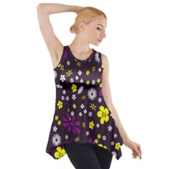 Flowers Floral Background Colorful Vintage Retro Busy Wallpaper Side Drop Tank Tunic
