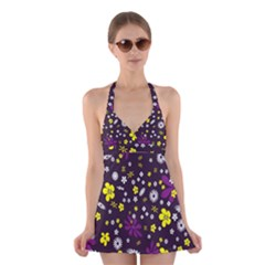 Flowers Floral Background Colorful Vintage Retro Busy Wallpaper Halter Swimsuit Dress