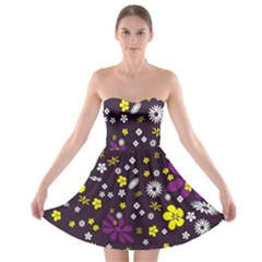 Flowers Floral Background Colorful Vintage Retro Busy Wallpaper Strapless Bra Top Dress
