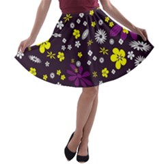 Flowers Floral Background Colorful Vintage Retro Busy Wallpaper A-line Skater Skirt