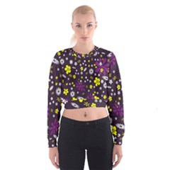 Flowers Floral Background Colorful Vintage Retro Busy Wallpaper Women s Cropped Sweatshirt