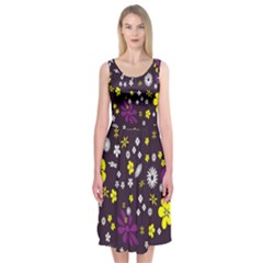 Flowers Floral Background Colorful Vintage Retro Busy Wallpaper Midi Sleeveless Dress