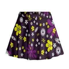 Flowers Floral Background Colorful Vintage Retro Busy Wallpaper Mini Flare Skirt