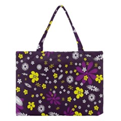 Flowers Floral Background Colorful Vintage Retro Busy Wallpaper Medium Tote Bag