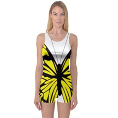 Yellow A Colorful Butterfly Image One Piece Boyleg Swimsuit