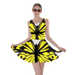 Yellow A Colorful Butterfly Image Skater Dress