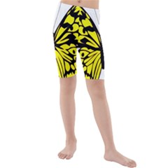 Yellow A Colorful Butterfly Image Kids  Mid Length Swim Shorts