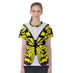 Yellow A Colorful Butterfly Image Women s Cotton Tee