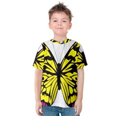 Yellow A Colorful Butterfly Image Kids  Cotton Tee