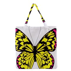 Yellow A Colorful Butterfly Image Grocery Tote Bag