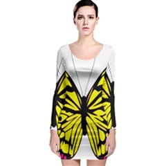 Yellow A Colorful Butterfly Image Long Sleeve Bodycon Dress
