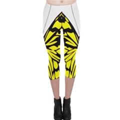 Yellow A Colorful Butterfly Image Capri Leggings