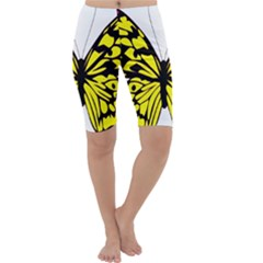 Yellow A Colorful Butterfly Image Cropped Leggings