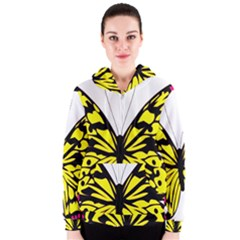 Yellow A Colorful Butterfly Image Women s Zipper Hoodie